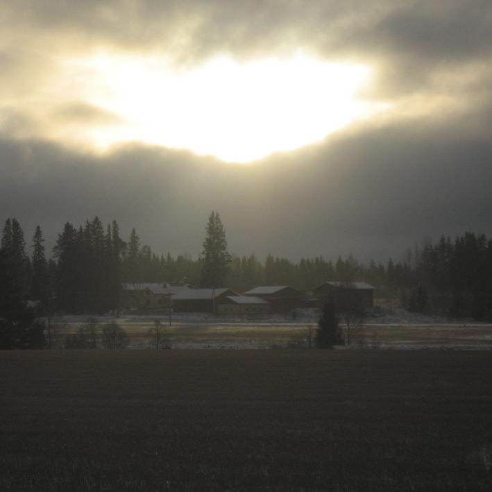 Maisema Onkijoen kylätontille jouluna 2011